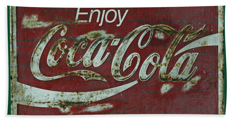 Coca Cola Bath Sheet featuring the photograph Coca Cola Green Grunge Sign by John Stephens