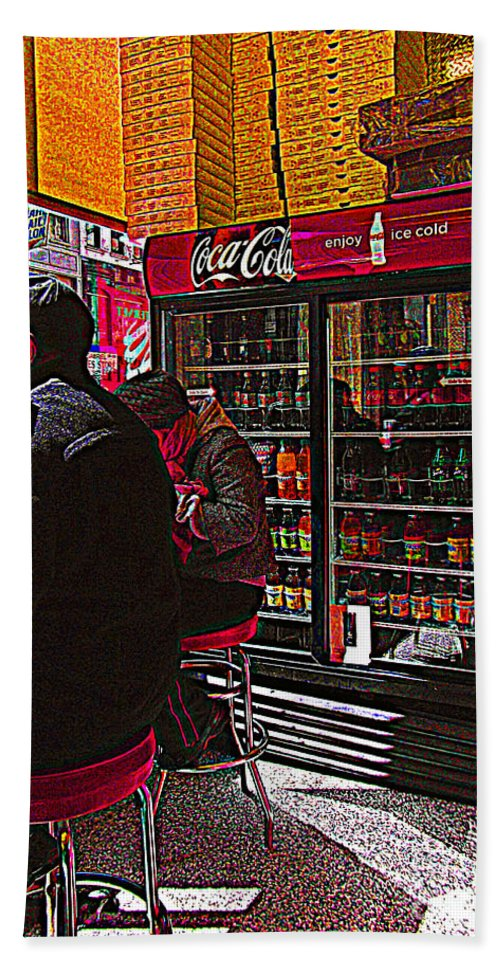 Pizza Parlor Bath Sheet featuring the photograph Coca Cola Lunch by Miriam Danar