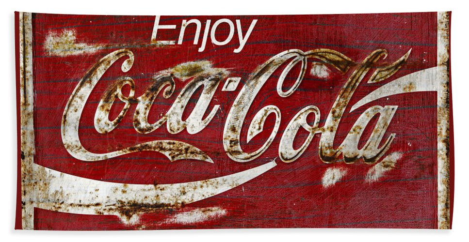 Coca Cola Bath Sheet featuring the photograph Coca Cola Red Grunge Sign by John Stephens