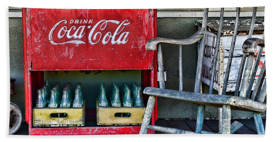 Paul Ward Bath Sheet featuring the photograph Coca Cola Vintage Cooler And Rocking Chair by Paul Ward