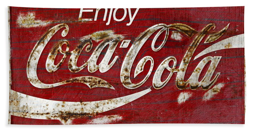 Coca Cola Bath Sheet featuring the photograph Coca Cola Wood Grunge Sign by John Stephens