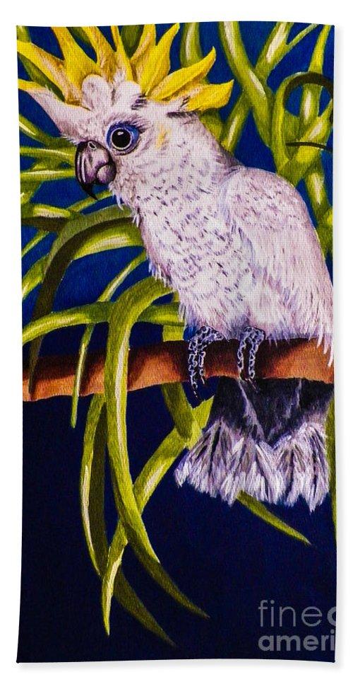 Bird. Parrot. Cockatoo. Foliage. Blue. Nature. Wildlife. Fine Art. Design. Bath Sheet featuring the painting Cockatoo by Dawn Siegler