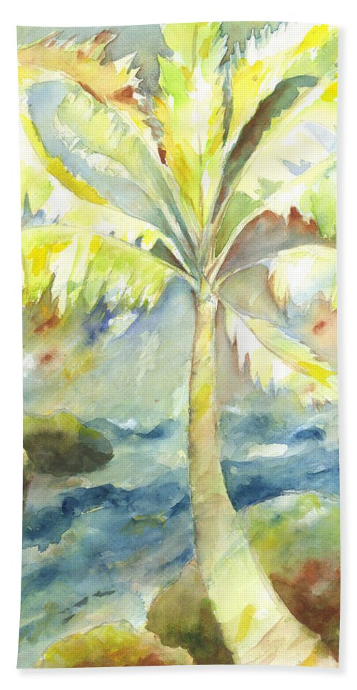 Palm Tree Bath Sheet featuring the painting Coconut Palm by Kelly Perez
