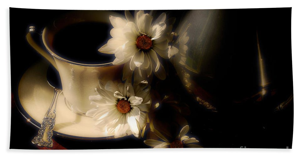 Coffee Hand Towel featuring the photograph Coffee And Daisies by Lois Bryan