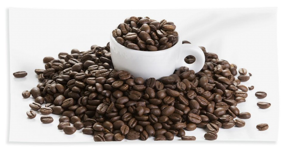 Coffee Hand Towel featuring the photograph Coffee Beans And Coffee Cup Isolated On White by Lee Avison