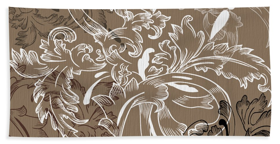 Flowers Hand Towel featuring the digital art Coffee Flowers 11 by Angelina Vick