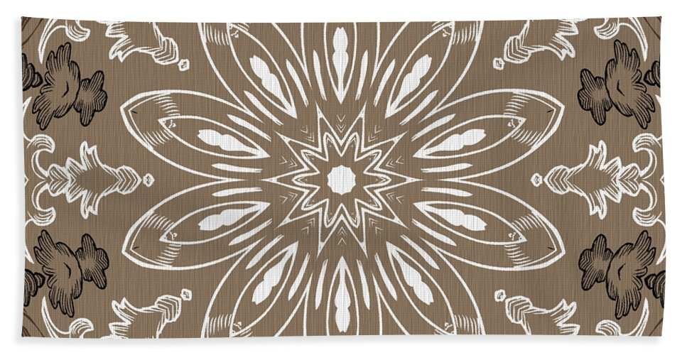 Intricate Hand Towel featuring the digital art Coffee Flowers 11 Ornate Medallion by Angelina Vick