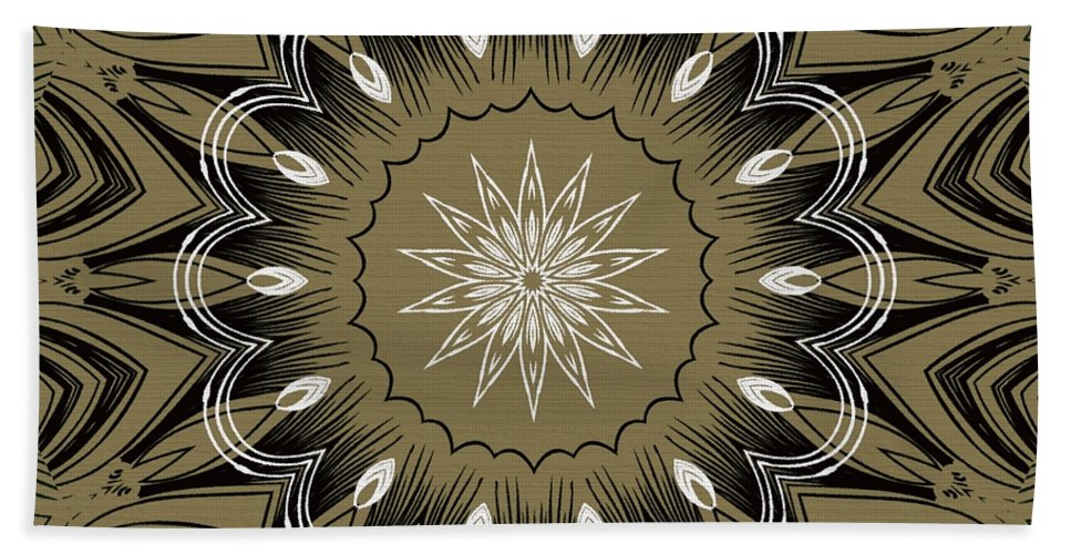 Intricate Hand Towel featuring the digital art Coffee Flowers 4 Olive Ornate Medallion by Angelina Vick