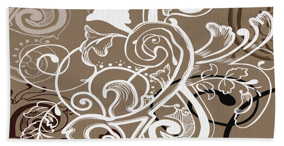 Flowers Hand Towel featuring the digital art Coffee Flowers 5 by Angelina Vick