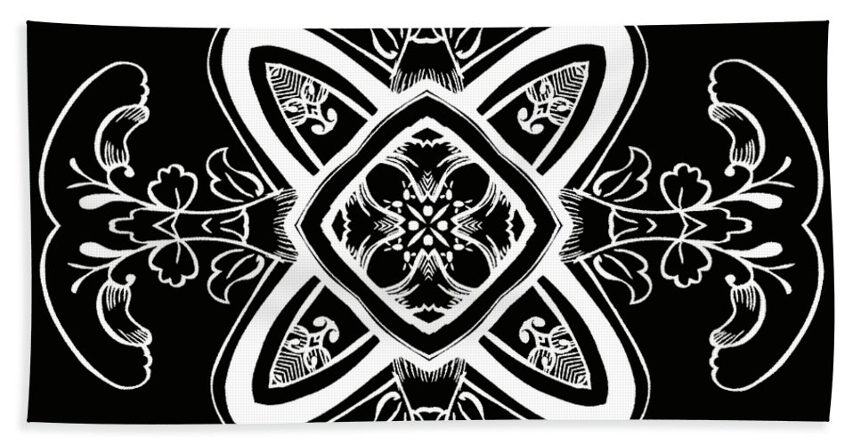 Intricate Hand Towel featuring the digital art Coffee Flowers 5 Bw Ornate Medallion by Angelina Vick