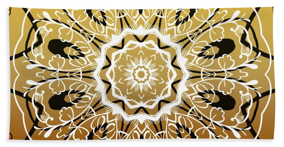 Intricate Hand Towel featuring the digital art Coffee Flowers 5 Calypso Ornate Medallion by Angelina Vick