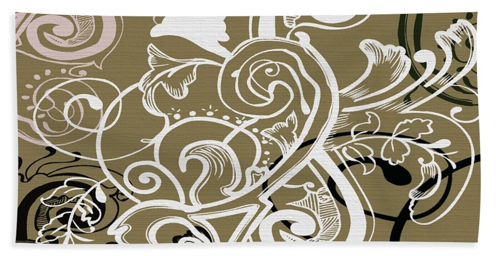 Flowers Hand Towel featuring the digital art Coffee Flowers 5 Olive by Angelina Vick