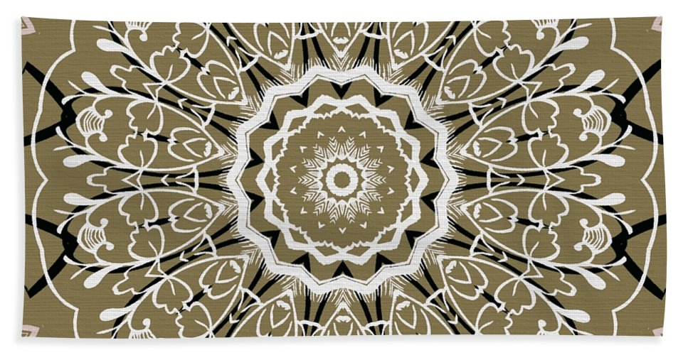 Intricate Hand Towel featuring the digital art Coffee Flowers 5 Olive Ornate Medallion by Angelina Vick