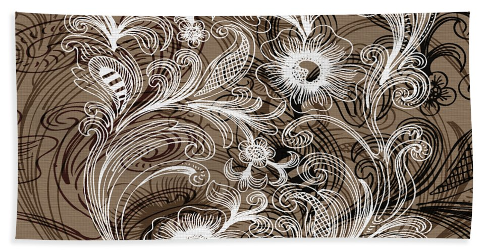 Flowers Hand Towel featuring the digital art Coffee Flowers 6 by Angelina Vick