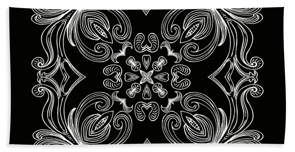 Intricate Hand Towel featuring the digital art Coffee Flowers 6 Bw Ornate Medallion by Angelina Vick