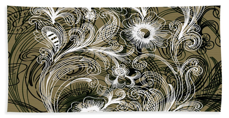 Flowers Hand Towel featuring the digital art Coffee Flowers 6 Olive by Angelina Vick