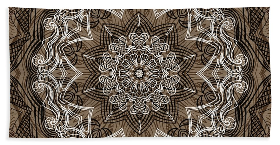 Intricate Hand Towel featuring the digital art Coffee Flowers 6 Ornate Medallion by Angelina Vick