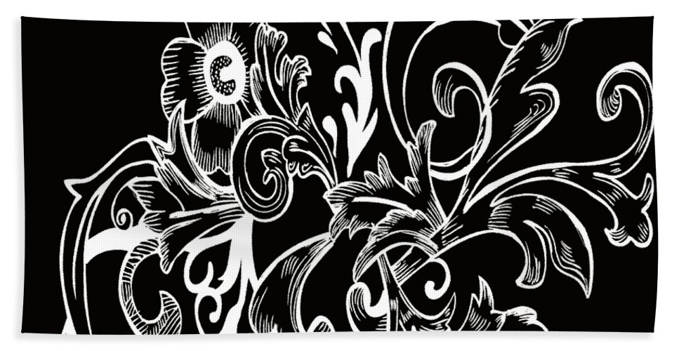 Flowers Hand Towel featuring the digital art Coffee Flowers 7 Bw by Angelina Vick