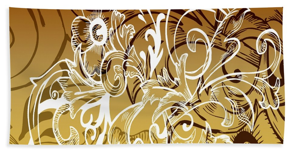 Flowers Hand Towel featuring the digital art Coffee Flowers 7 Calypso by Angelina Vick
