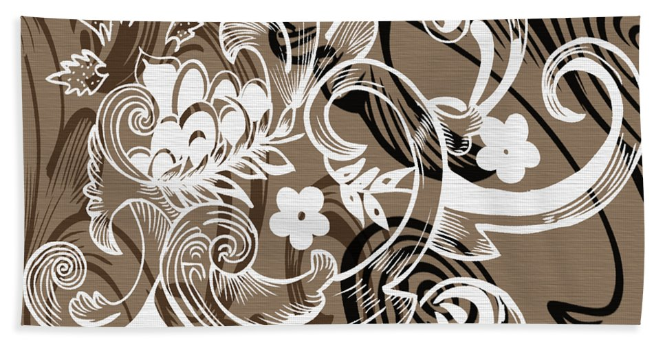Flowers Hand Towel featuring the digital art Coffee Flowers 8 by Angelina Vick