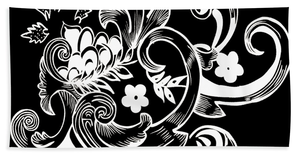 Flowers Hand Towel featuring the digital art Coffee Flowers 8 Bw by Angelina Vick