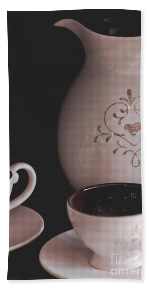 Coffee; Mugs; Object; Cup; Indoors; Inside; Craft; Pot; Decorative; Feminine; Pretty; Drink; Still Life; Breakfast; Morning; Cafe; Wake Up; Saucer Hand Towel featuring the photograph Coffee Service by Margie Hurwich