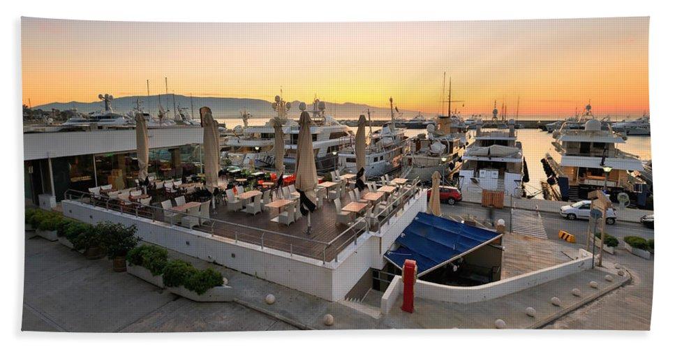 Athens Bath Sheet featuring the photograph Coffee Shop In Zea Marina by Milan Gonda