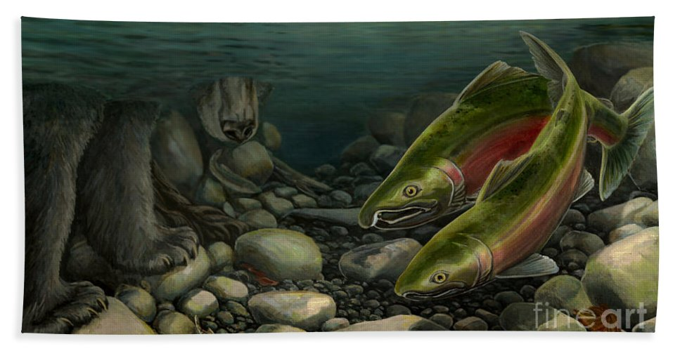 Coho Hand Towel featuring the painting Coho Fishing by Kim Hunter