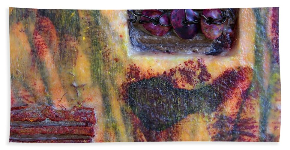 Coin Of The Realm Hand Towel featuring the mixed media Coin Of The Realm Encaustic by Bellesouth Studio