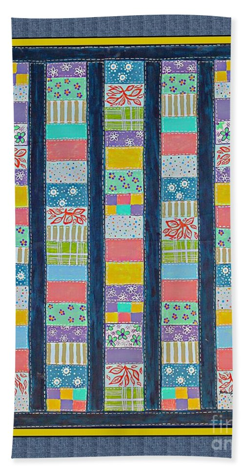 Coin Quilt Bath Sheet featuring the painting Coin Quilt - Painting - Multicolors - Borders by Barbara Griffin