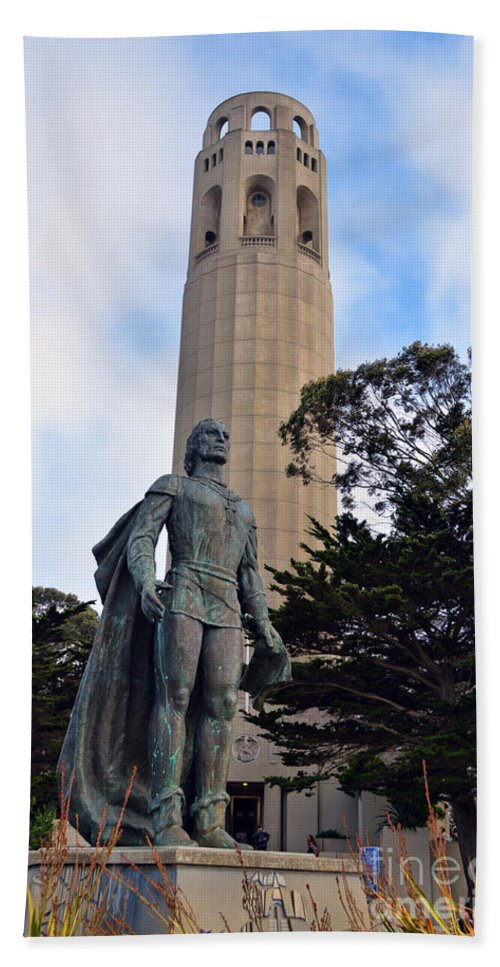 Coit Tower Hand Towel featuring the photograph Coit Tower -1 by Tommy Anderson