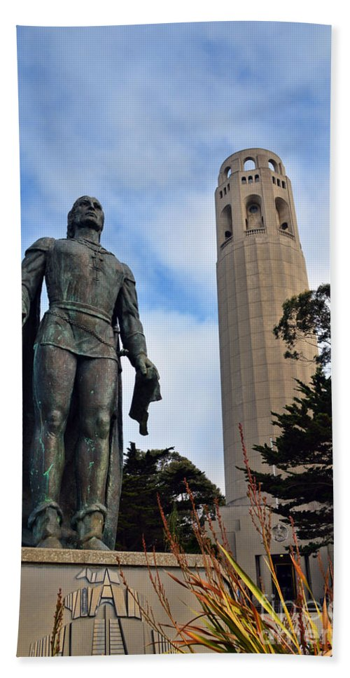 Coit Tower Hand Towel featuring the photograph Coit Tower -2 by Tommy Anderson
