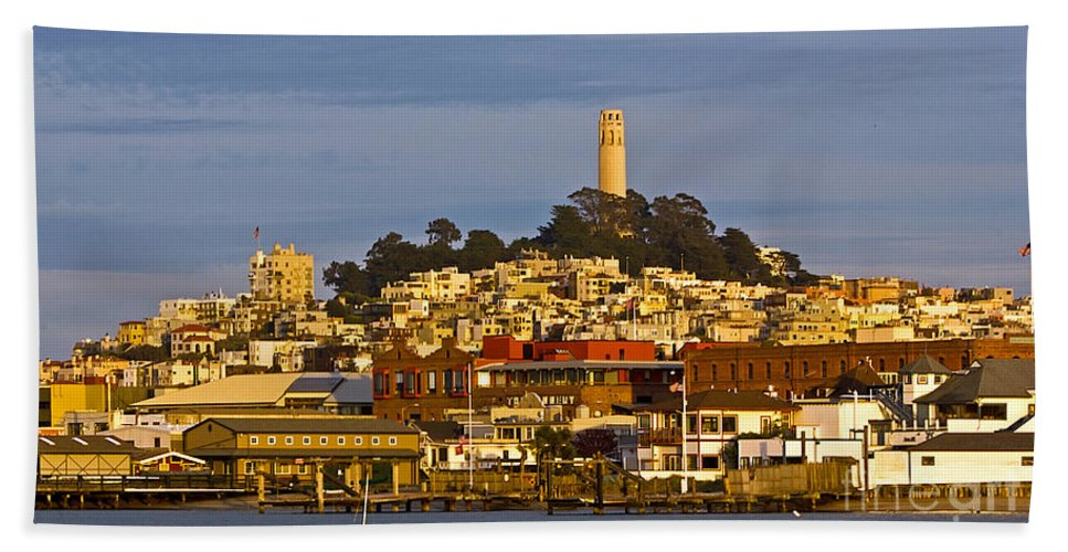 Kate Brown Hand Towel featuring the photograph Coit Tower Golden Hour by Kate Brown