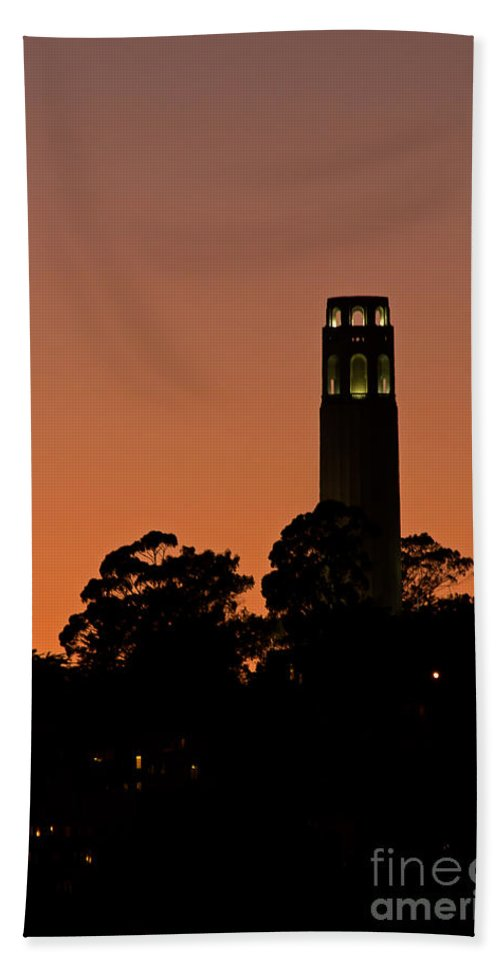 Kate Brown Bath Sheet featuring the photograph Coit Tower Sunset by Kate Brown