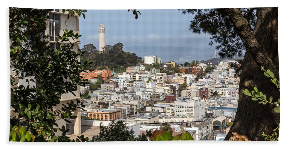 Brown Bath Sheet featuring the photograph Coit Tower View by Kate Brown