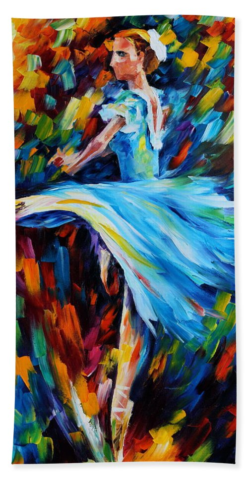 Ballet Bath Towel featuring the painting Cold Ballet by Leonid Afremov