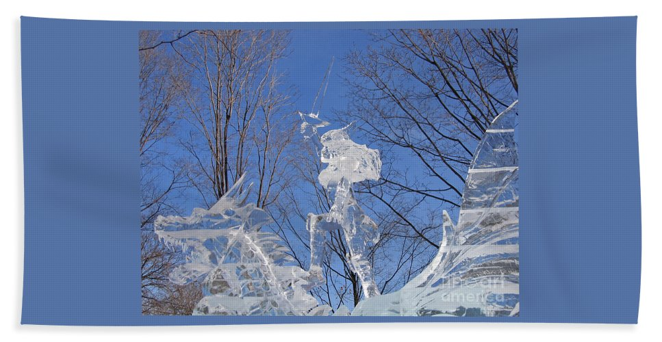 Ice Sculpture Bath Sheet featuring the photograph Cold Fury by Ann Horn