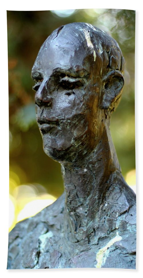 Bronze Man Hand Towel featuring the photograph Cold Stare by Scott Hill
