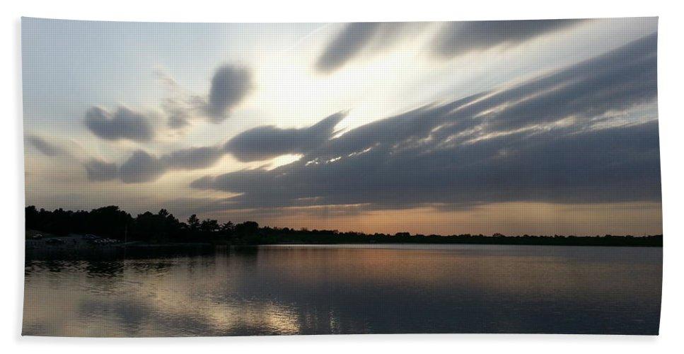 Lake Bath Sheet featuring the photograph Cold Sunset by Caryl J Bohn