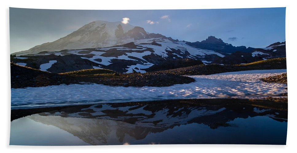 Rainier Hand Towel featuring the photograph Cold Water Mountain by Mike Reid