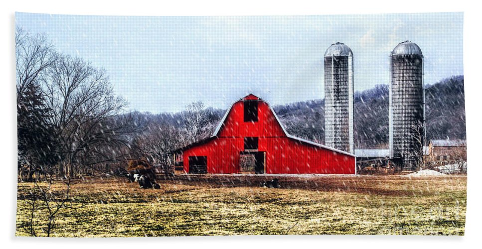 Landscape Bath Sheet featuring the photograph Cold Winter Day At The Farm by Peggy Franz