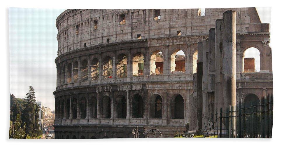 Coliseum Bath Sheet featuring the photograph Colosseum by Louis Yamonico