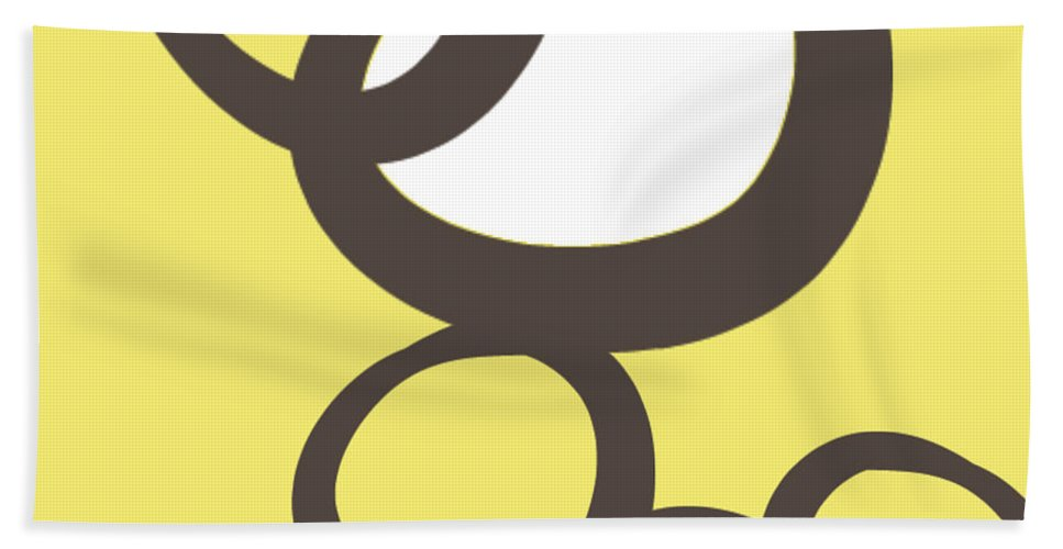 Abstract Hand Towel featuring the painting Collecting Stones by Linda Woods