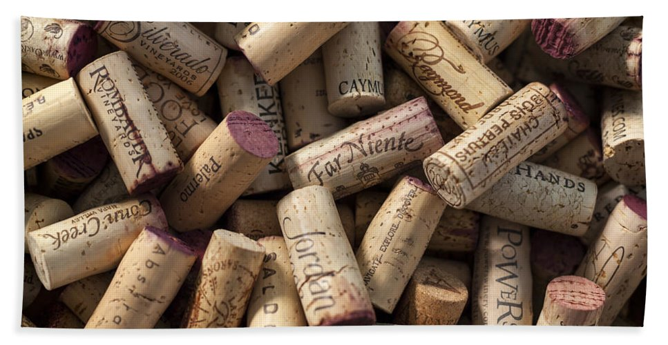 3scape Bath Towel featuring the photograph Collection of Fine Wine Corks by Adam Romanowicz