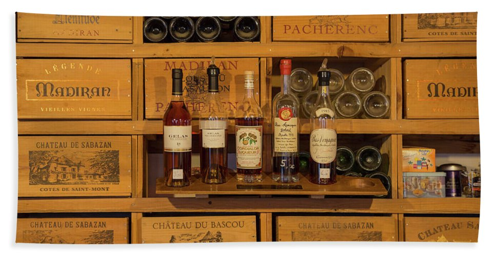 Photography Bath Sheet featuring the photograph Collection Of Wines And Armagnac by Panoramic Images