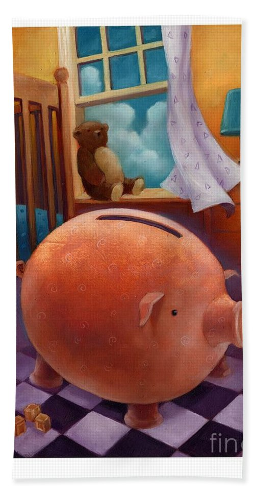 Piggy Bank Hand Towel featuring the painting College Fund-2 by Chris Van Es