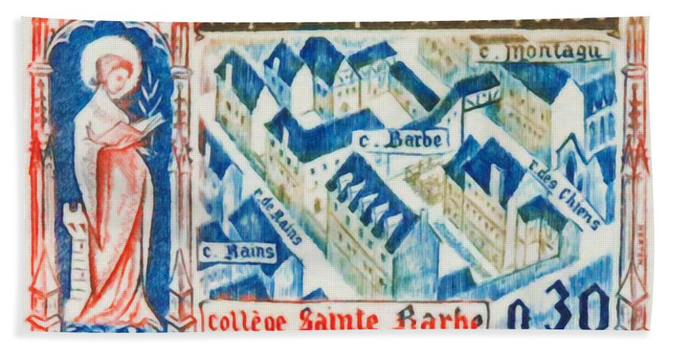 Saint-bearded College Bath Sheet featuring the painting College Of St. Barbe 1460-1960 Half A Millennium by Jeelan Clark