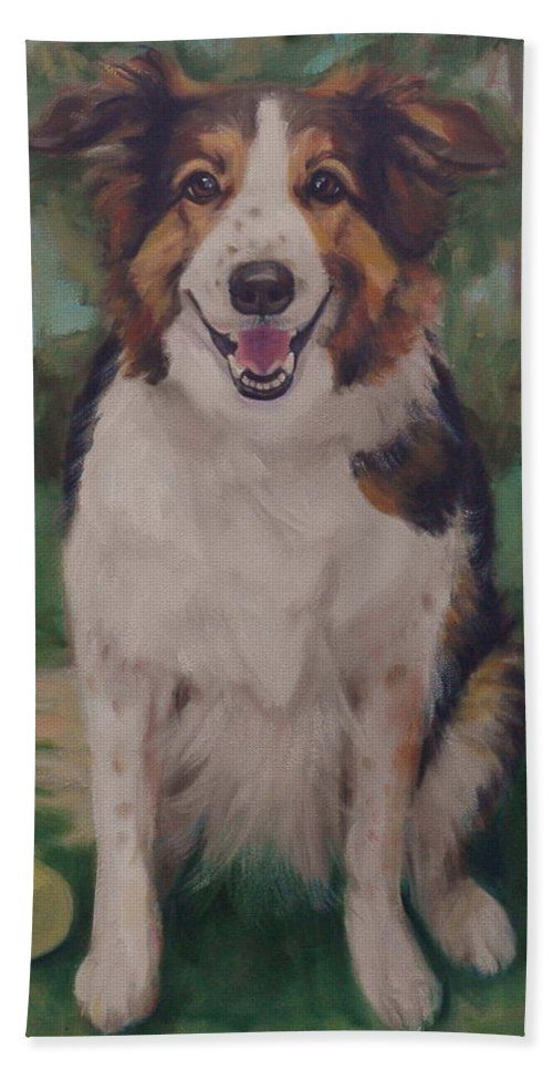 Collie Bath Sheet featuring the painting Collie by Pet Whimsy Portraits