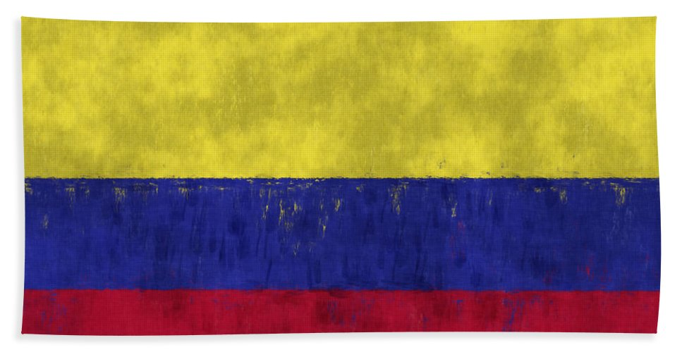 Colombia Hand Towel featuring the digital art Colombia Flag by World Art Prints And Designs