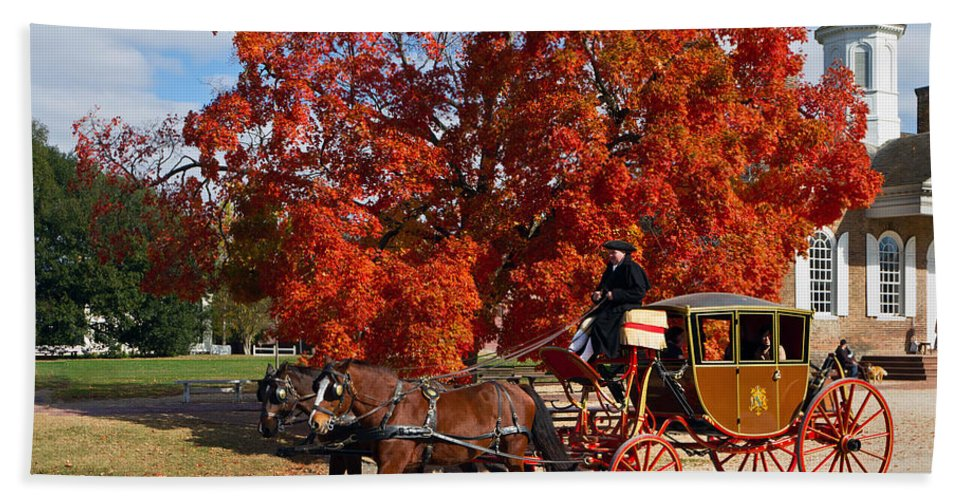Williamsburg Bath Sheet featuring the photograph Carriage In Autumn by Jerry Gammon